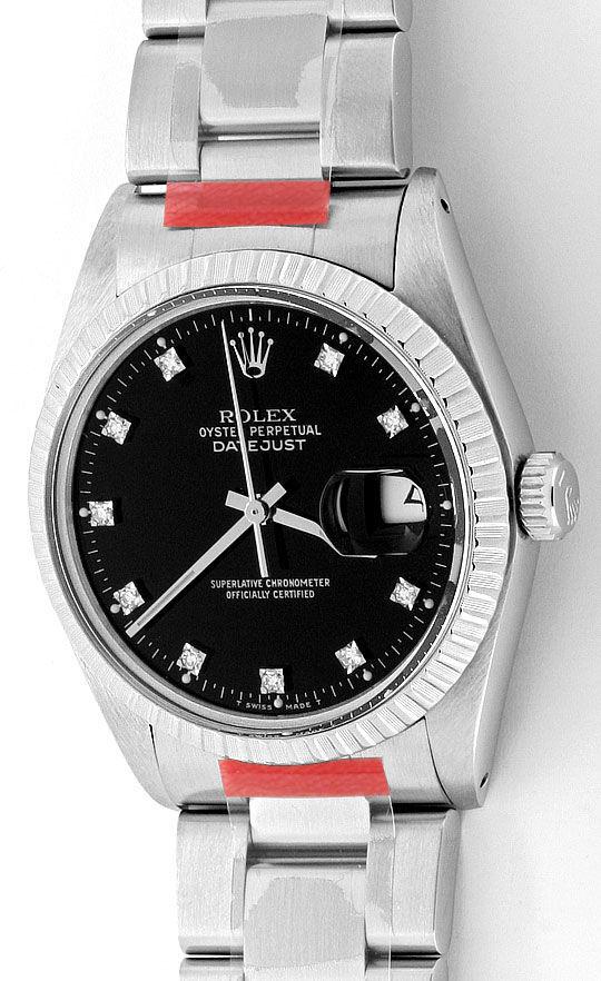 Foto 2, Rolex Datejust Herren Uhr Edelstahl Diamant Zifferblatt, U2064