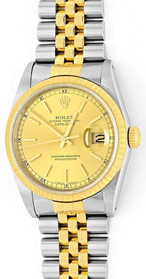 Foto 2, Rolex Datejust Herren Armbanduhr Stahlgold Jubilee Neuw, U2065