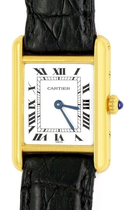 Foto 2, Cartier Tank Louis Cartier Damen 18K Gold Faltschliesse, U2067