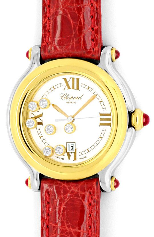 Foto 2, Chopard Happy Sport Medium 7Diamanten 5Rubine Stahlgold, U2068