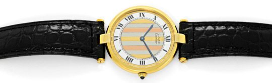 Foto 1, Cartier Ronde Vermeil 925 Sterling Vergoldet Herren Uhr, U2069