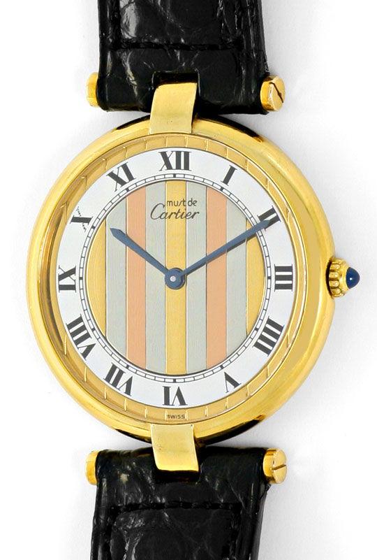 Foto 2, Cartier Ronde Vermeil 925 Sterling Vergoldet Herren Uhr, U2069