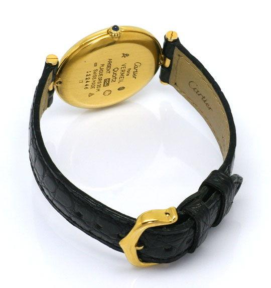 Foto 4, Cartier Ronde Vermeil 925 Sterling Vergoldet Herren Uhr, U2069