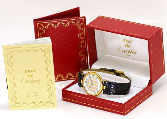 Foto 5, Cartier Ronde Vermeil 925 Sterling Vergoldet Herren Uhr, U2069