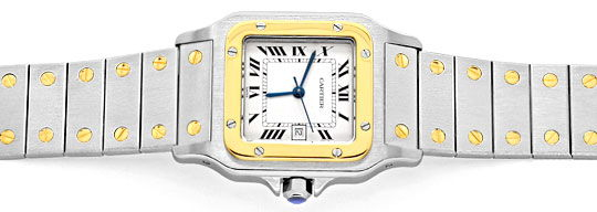 Foto 1, Cartier Santos Stahl Gold Automatik Herrenuhr Neuwertig, U2080