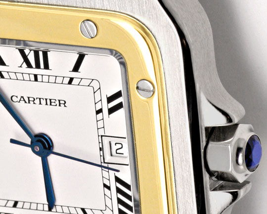 Foto 3, Cartier Santos Stahl Gold Automatik Herrenuhr Neuwertig, U2080