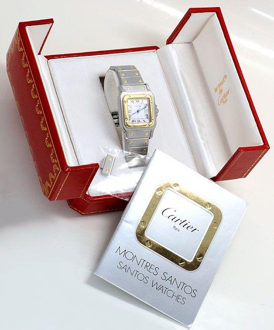 Foto 6, Cartier Santos Stahl Gold Automatik Herrenuhr Neuwertig, U2080