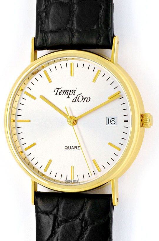 Foto 2, Tempi D Oro, Klassische Herren Armbanduhr, 14K Gelbgold, U2088