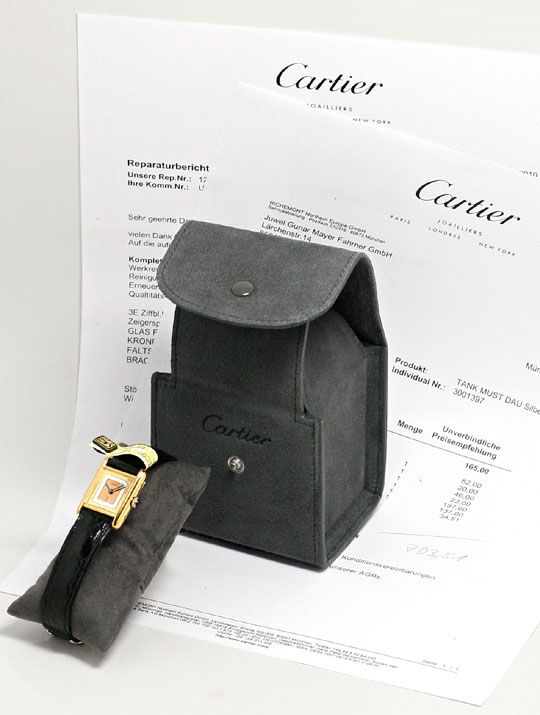 Foto 6, Must.de Cartier Vermeil Tank Kroko 925 Silber Vergoldet, U2090