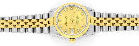 Foto 1, Medium Rolex Datejust Uhr Stahlgold Diamant-Zifferblatt, U2095