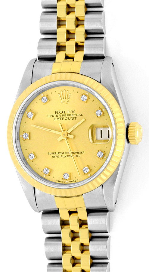 Foto 2, Medium Rolex Datejust Uhr Stahlgold Diamant-Zifferblatt, U2095