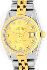 Medium Rolex Datejust Uhr Stahlgold Diamant-Zifferblatt