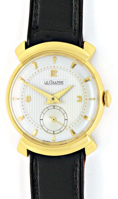 Foto 2, Le Coultre Vintage Lederband Gelbgold Herren Armbanduhr, U2105