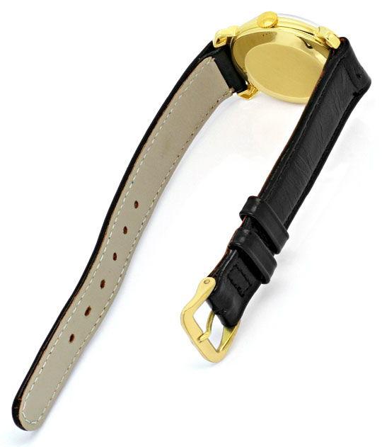 Foto 5, Le Coultre Vintage Lederband Gelbgold Herren Armbanduhr, U2105