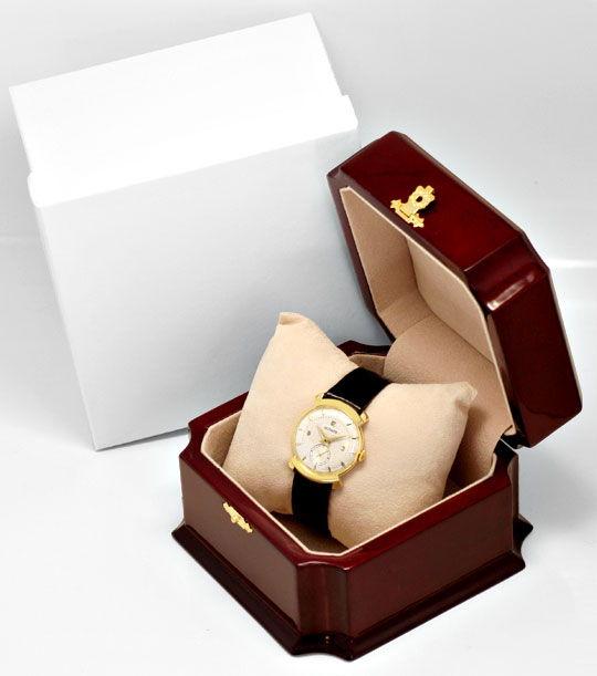 Foto 6, Le Coultre Vintage Lederband Gelbgold Herren Armbanduhr, U2105