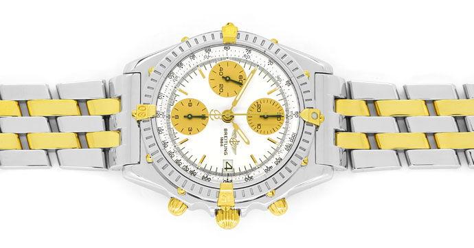 Foto 1, Breitling Chronomat Pilot Armband Stahl Gold Herren Uhr, U2107