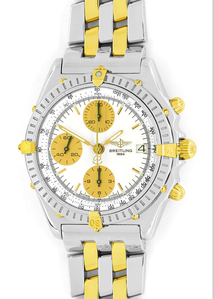 Foto 2, Breitling Chronomat Pilot Armband Stahl Gold Herren Uhr, U2107