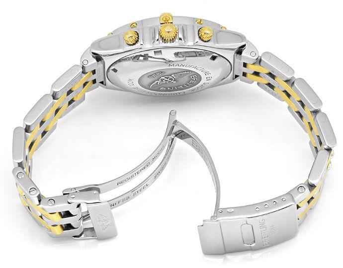 Foto 5, Breitling Chronomat Pilot Armband Stahl Gold Herren Uhr, U2107