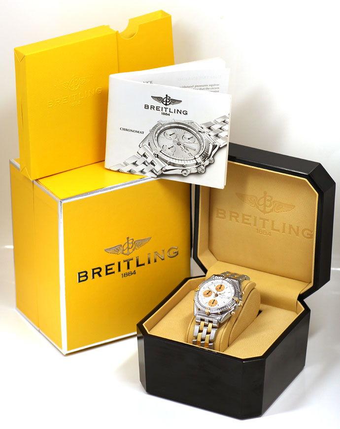 Foto 6, Breitling Chronomat Pilot Armband Stahl Gold Herren Uhr, U2107