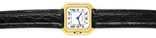 Foto 1, Cartier Ceinture 18K Gelbgold Krokodil Armband Damenuhr, U2110