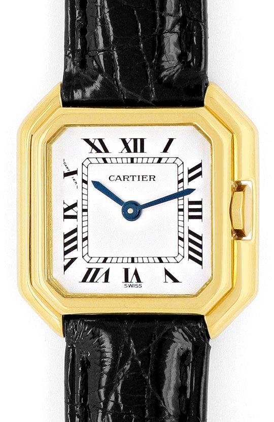 Foto 2, Cartier Ceinture 18K Gelbgold Krokodil Armband Damenuhr, U2110