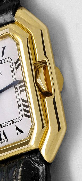 Foto 4, Cartier Ceinture 18K Gelbgold Krokodil Armband Damenuhr, U2110
