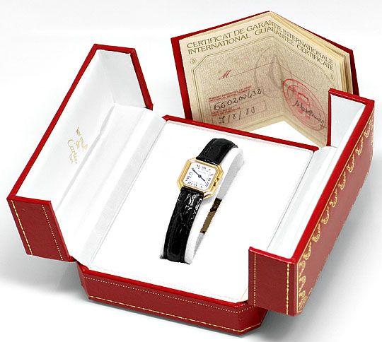 Foto 8, Cartier Ceinture 18K Gelbgold Krokodil Armband Damenuhr, U2110