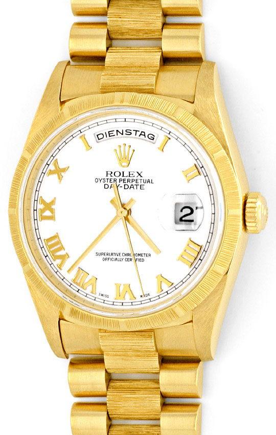 Foto 2, Rolex Day Date Rinde Borke Herren Gelbgold Doppel Quick, U2119