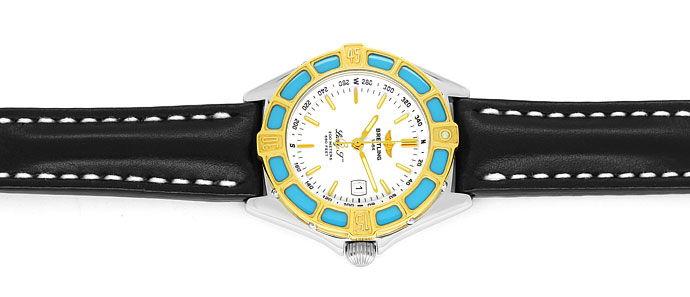 Foto 1, Breitling LadyJ Damen Uhr Stahl Gold Leder Faltschließe, U2120