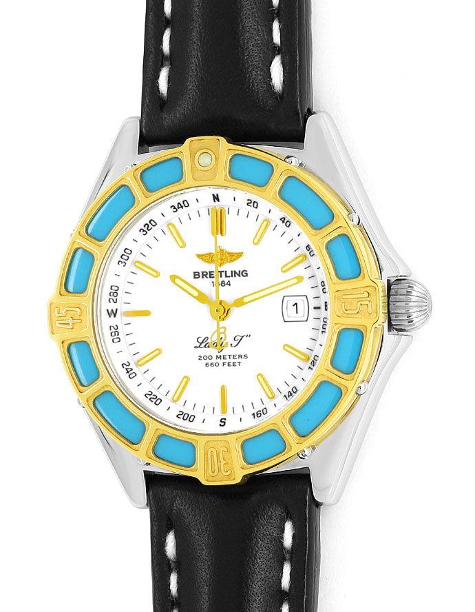 Foto 2, Breitling LadyJ Damen Uhr Stahl Gold Leder Faltschließe, U2120
