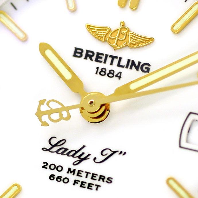 Foto 3, Breitling LadyJ Damen Uhr Stahl Gold Leder Faltschließe, U2120