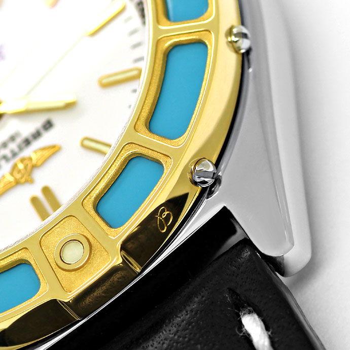Foto 4, Breitling LadyJ Damen Uhr Stahl Gold Leder Faltschließe, U2120