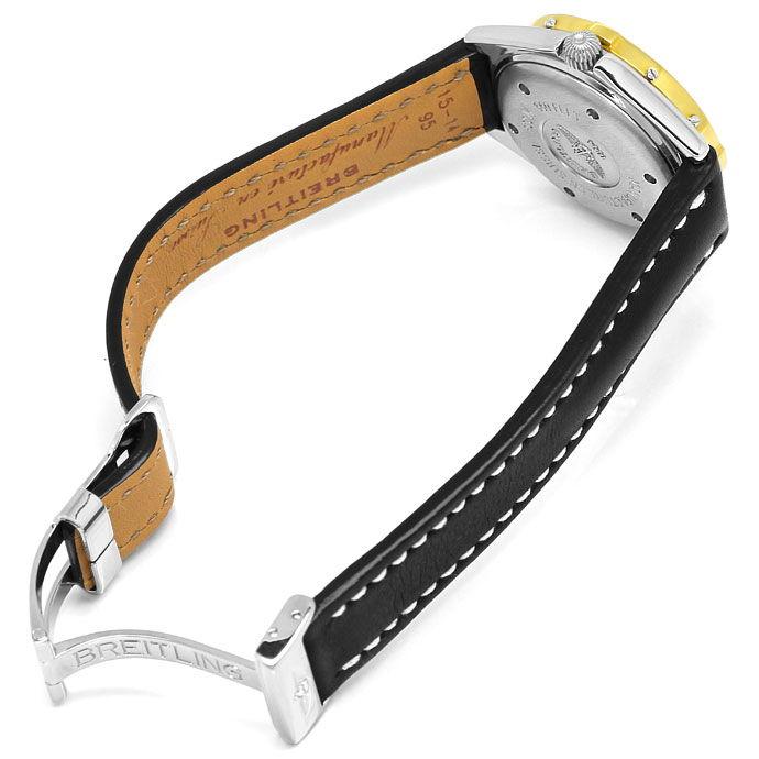 Foto 5, Breitling LadyJ Damen Uhr Stahl Gold Leder Faltschließe, U2120