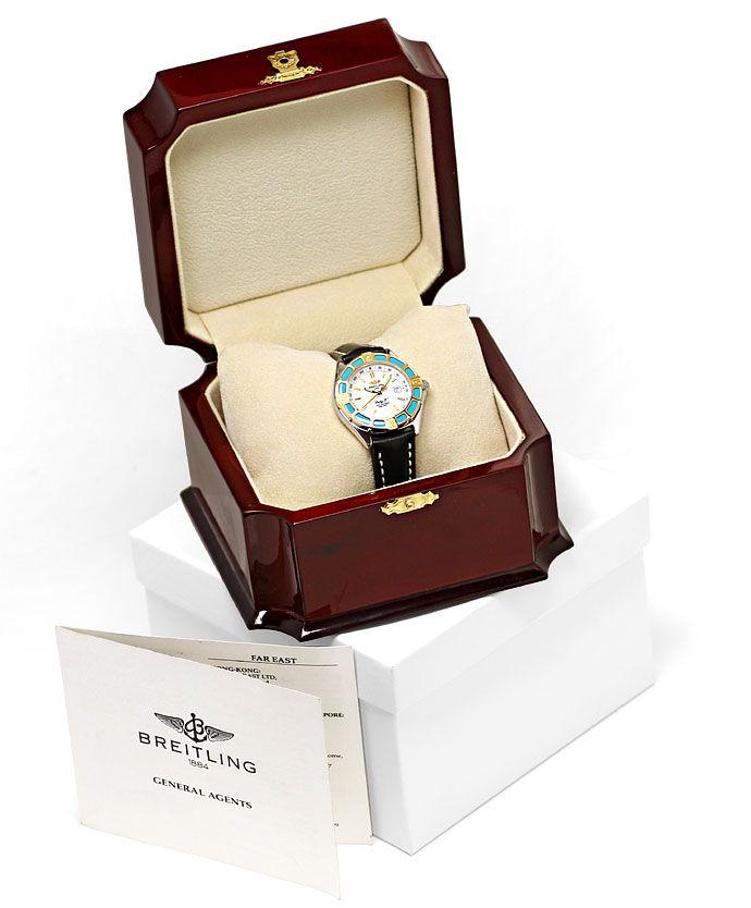 Foto 6, Breitling LadyJ Damen Uhr Stahl Gold Leder Faltschließe, U2120
