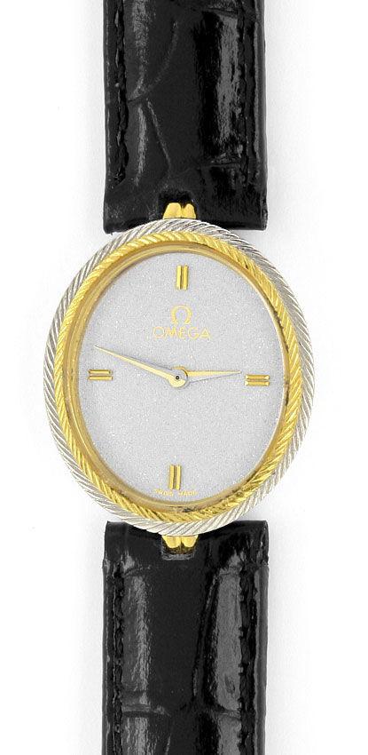 Foto 2, Omega Damen Armbanduhr 18K Gelbgold Weissgold Quarz Uhr, U2127