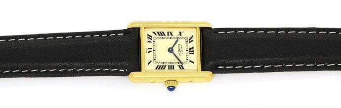 Foto 1, Cartier Tank Vermeil Damen Uhr 925er Sterling vergoldet, U2128