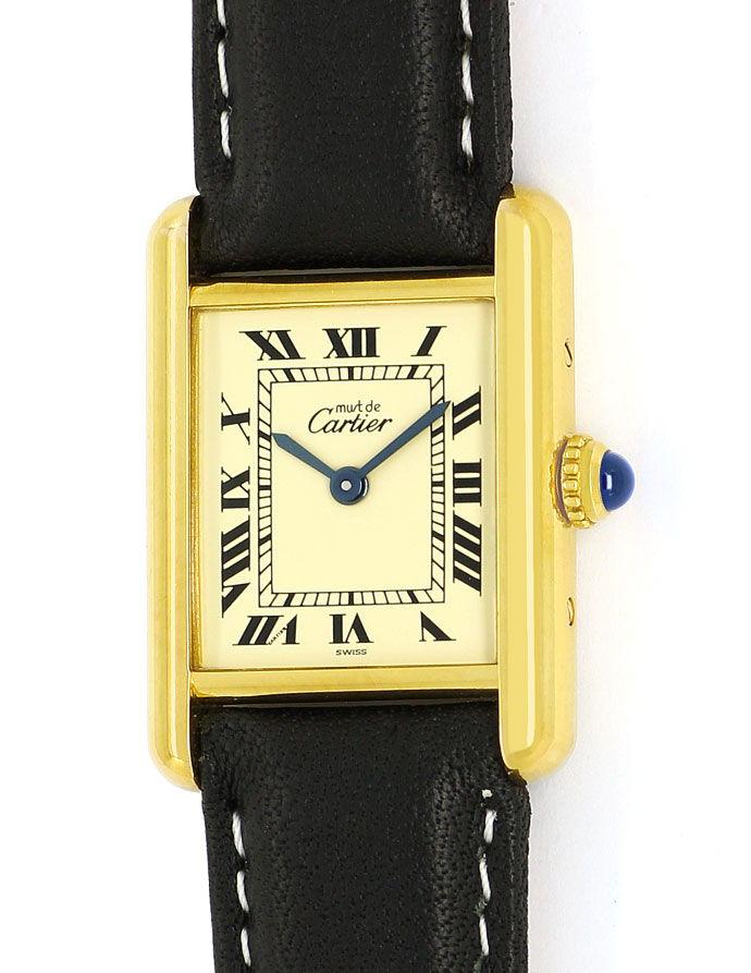 Foto 2, Cartier Tank Vermeil Damen Uhr 925er Sterling vergoldet, U2128