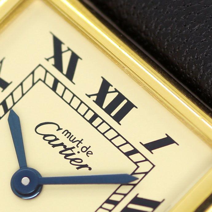 Foto 3, Cartier Tank Vermeil Damen Uhr 925er Sterling vergoldet, U2128