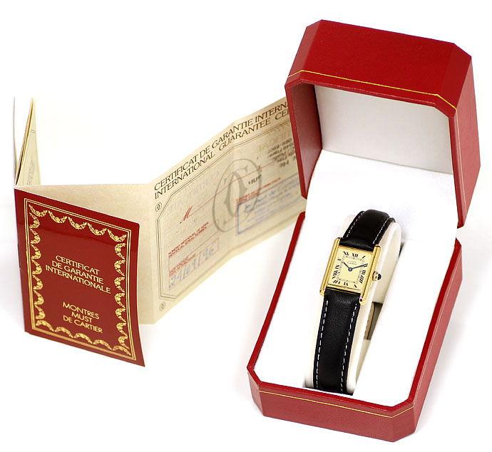 Foto 5, Cartier Tank Vermeil Damen Uhr 925er Sterling vergoldet, U2128