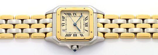 Foto 1, Cartier Panthere Stahl 3 Streifen Gold Herrenuhr Medium, U2133