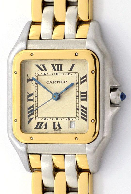 Foto 2, Cartier Panthere Stahl 3 Streifen Gold Herrenuhr Medium, U2133