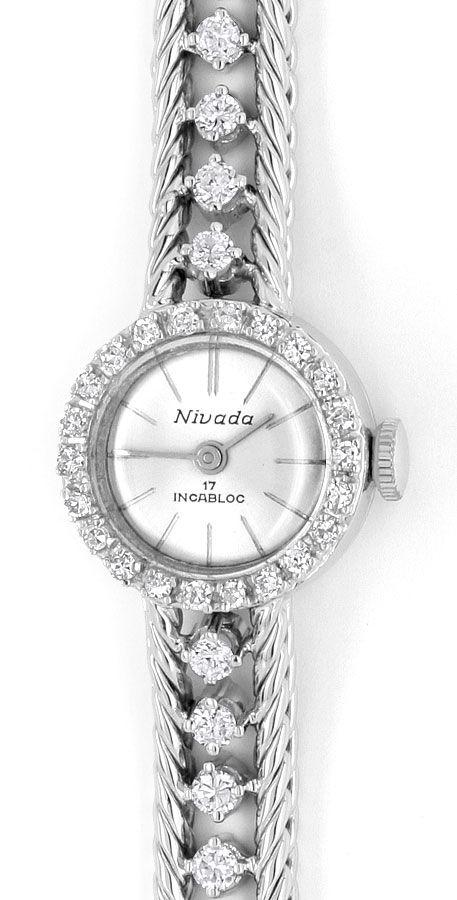 Foto 2, Nivada Damenuhr Weissgold Diamanten auf Armband und Uhr, U2136