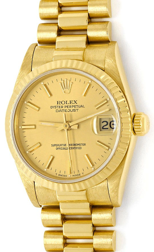 rolex datejust pr sidentband gelbgold medium armbanduhr u2139. Black Bedroom Furniture Sets. Home Design Ideas
