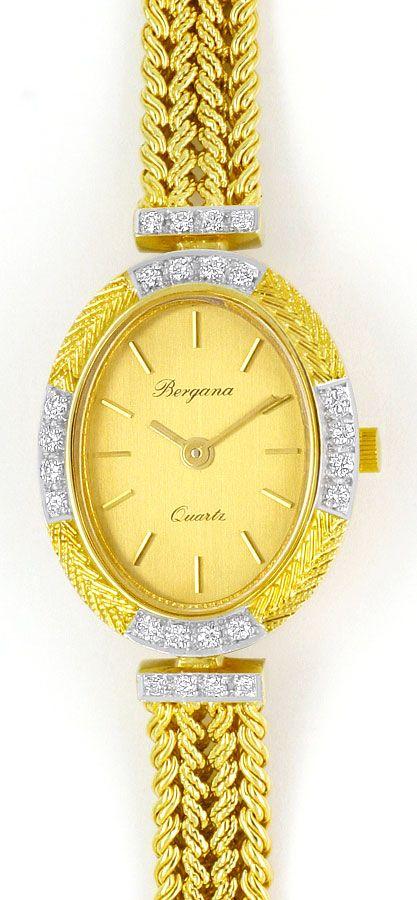 Foto 2, Bergana Damenarmbanduhr mit Diamanten Gelbgold 14 Karat, U2147