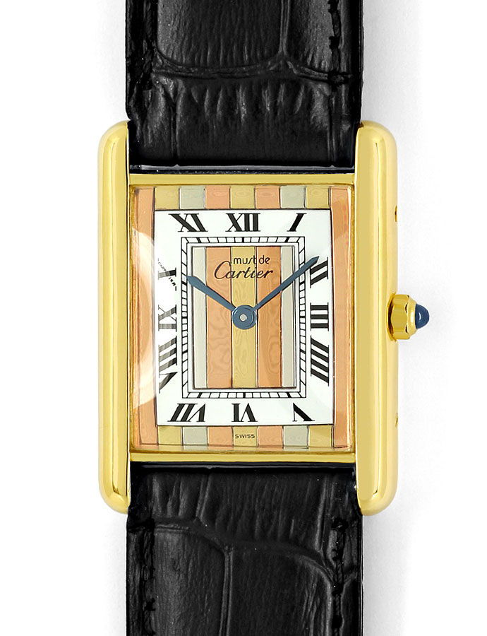 Foto 2 - Must de Cartier Tank Vermeil Drei Gold Uhr, Faltschieße, U2156
