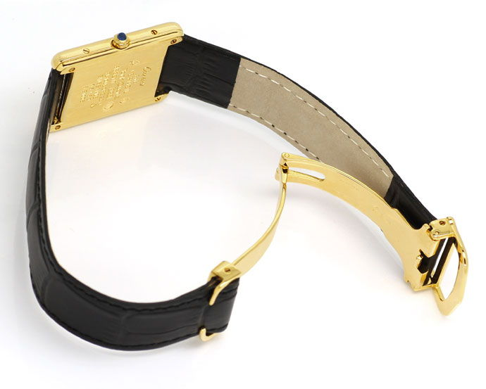 Foto 3 - Must de Cartier Tank Vermeil Drei Gold Uhr, Faltschieße, U2156