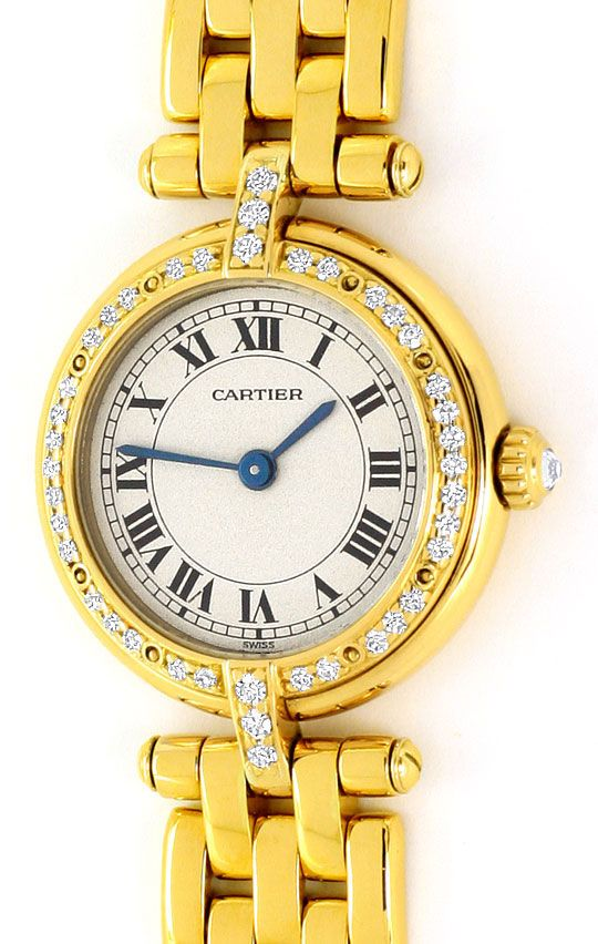 Foto 2, Cartier Panthere Vendome Damenarmbanduhr Diamantlünette, U2165