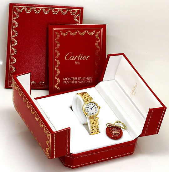Foto 5, Cartier Panthere Vendome Damenarmbanduhr Diamantlünette, U2165