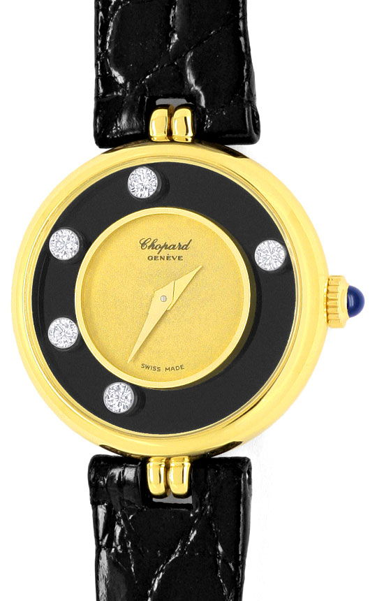 Foto 2, Chopard Happy Diamonds Gelbgold 18K Damenuhr Neuzustand, U2179