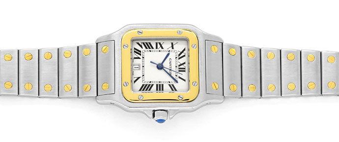 Foto 1 - Santos Galbee de Cartier Herren Armbanduhr in Stahlgold, U2180